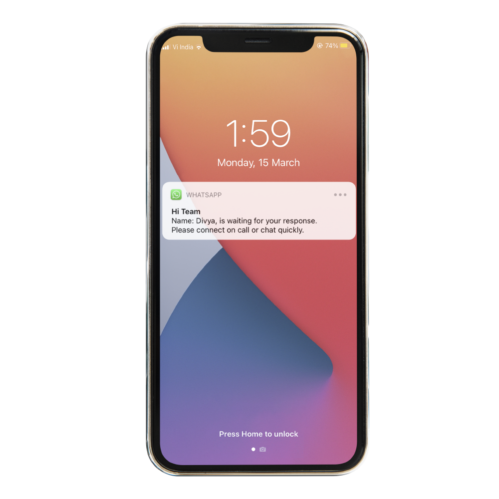 A smart phone showing Instant Lead alert