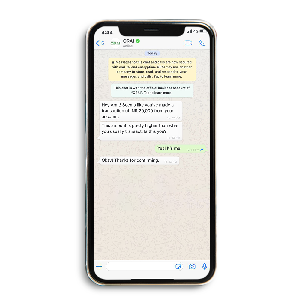 ORAI's chat enabled with Conversational AI for fraud prevention