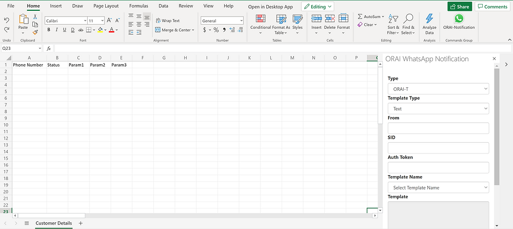 excel sheet with ORAI's push notification feature