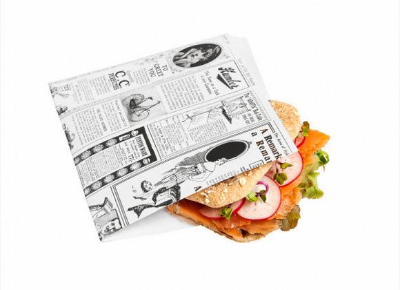 שקיות לפיתה פתוחה שני צדדים דגם עיתון בהיר