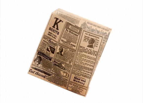 שקיות לפיתה פתוחה שני צדדים דגם עיתון כהה