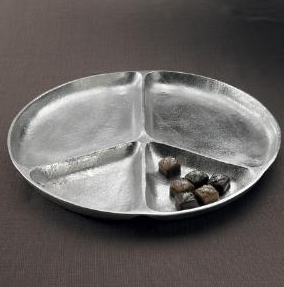 Textured Peace Sign 4 section Platter