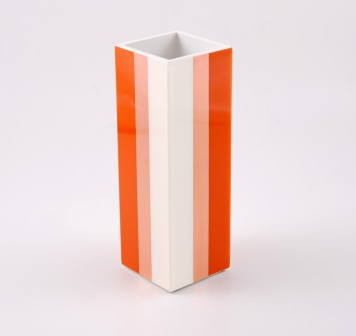 Orange, Copper Leaf And White Lacquer Flower Vase