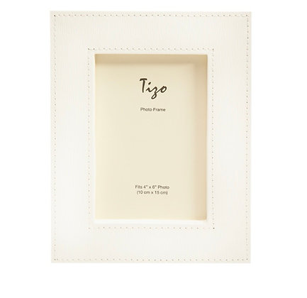 White Faux Leather 5x7 Frame