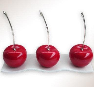 3 Cherries on White Platter