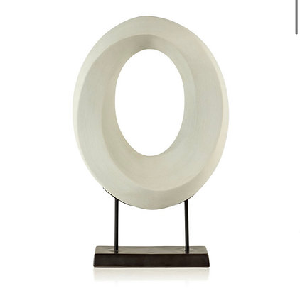 White Porcelain Oval Twist on Stand