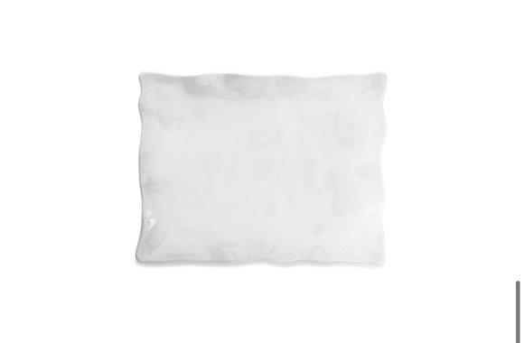 Ruffle White Melamine Large Rectangle Platter