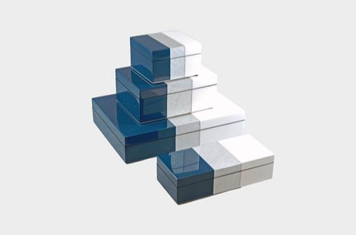 NavyBlue Shine Silver White Lacquer Boxes