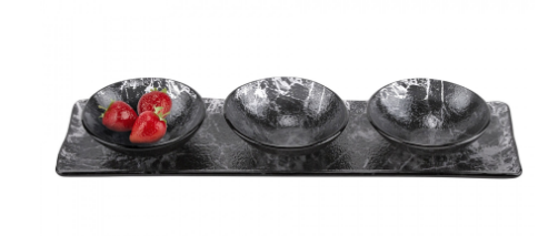 Black glass tray with 3 bowls