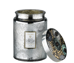 White Currants and Alpine Lace  Large Glass Jar Candle