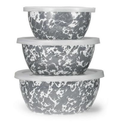 Enameled nesting bowls - set of 3 w/ lids