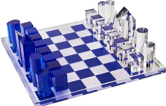 Blue Acrylic Chess Set