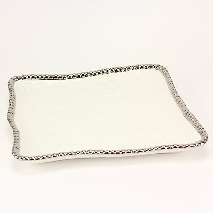 White square platter with Silver beading