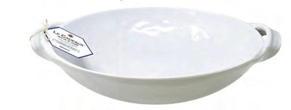 Large Handle White Melamine Bowl