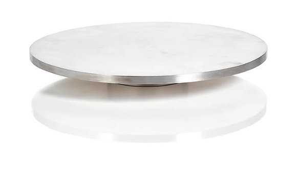 Olivia Marble with Metal Trim Lazy Susan - Matt Silver