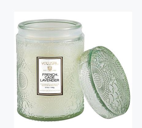 Voluspa Mini Tall Embossed Glass Jar- French Cade Lavender
