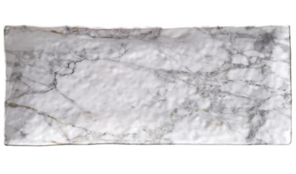 "White Marble Melamine 15.25"" serving tray"