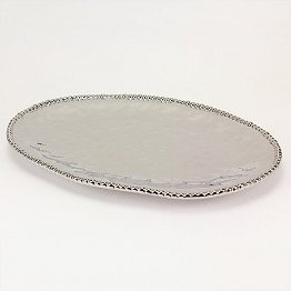 Large Silver Oval Platter w silver beading