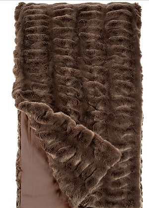 Taupe Mink Faux Fur Throw