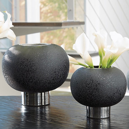 Silver Band Sphere Vase
