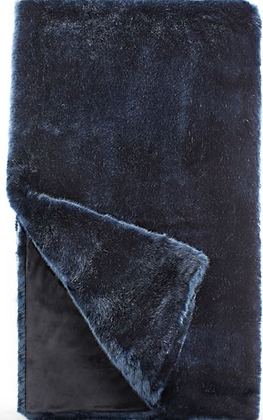 Steel Blue Faux Fur Throw