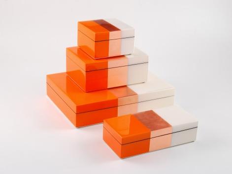 Orange, Copper, White Lacquer Boxes