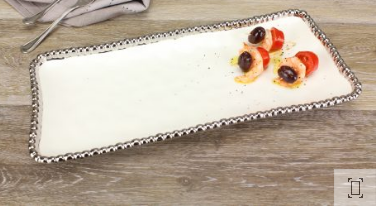 Salerno Medium Rectangle Tray- White and Silver
