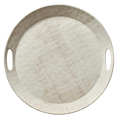 Grass Cloth Tray Round serving Tray
