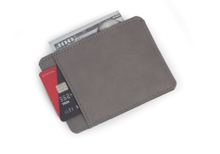 Gray leather credit card holder