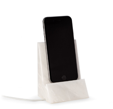 White marble phone cradle