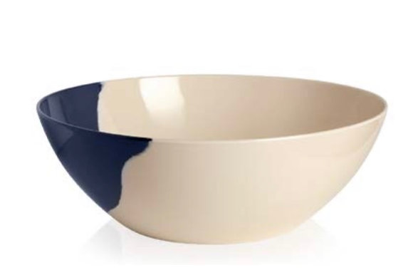 Ivory and Navy  1/2 and 1/2 Salad Bowl