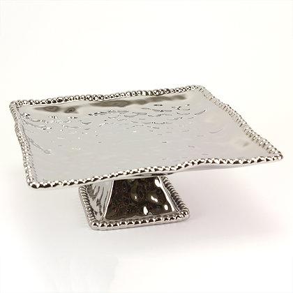 Square silver cake plate