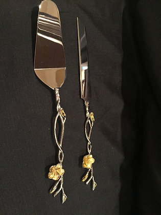 Orchid Cake Server and Knife