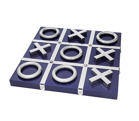 Navy and Silver Tic Tac Toe