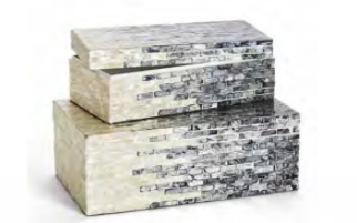 Ivory and Gray Mosaic Boxes