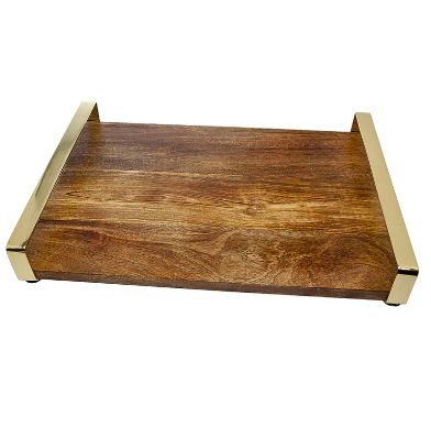 Large Wood Tray with Gold Handles
