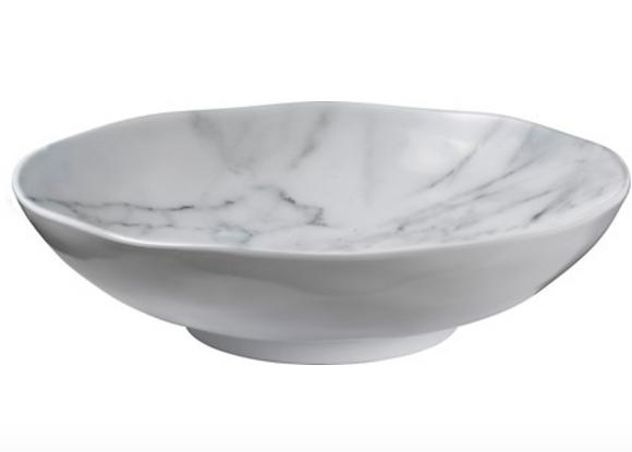 "White Marble Melamine 12"" round bowl"