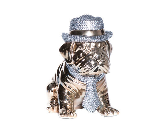 Bronze and Rhinestone Bull Dog
