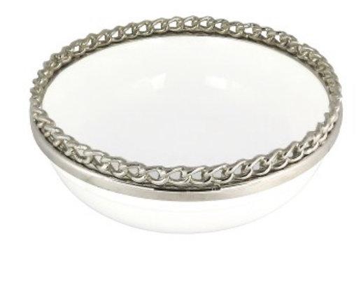 White Enamel Bowl with Chain Link Rim