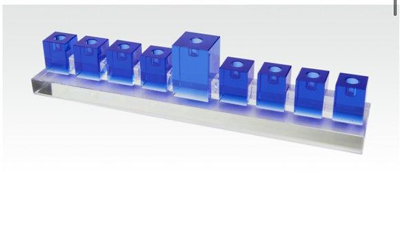 Crystal Blue Glass Menorah