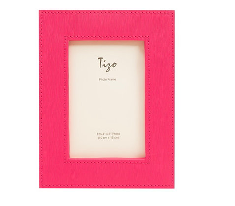 Hot Pink Faux Leather 4x6 Frame