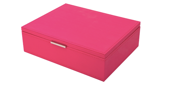 Faux Leather Hot Pink Jewelry Box