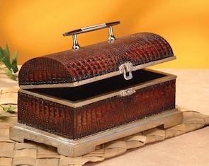 Faux alligator hinged lid box