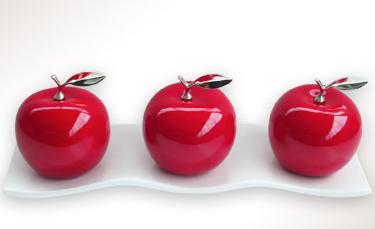 3 Ceramic  Apples  w/ Silver Stems  on Black or White Ceramic Tray