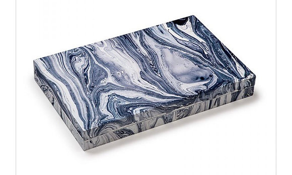 Blue Wavy Marble Laquer Backgammon
