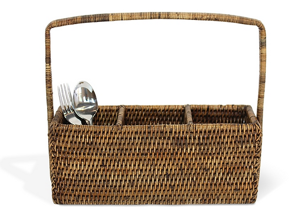 Rattan 3 part cutlery holder