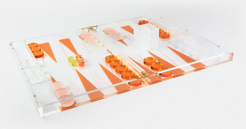 Lucite Backgammon - orange and white