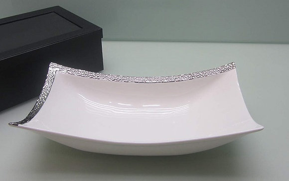 White with Silver Trim serving bowl
