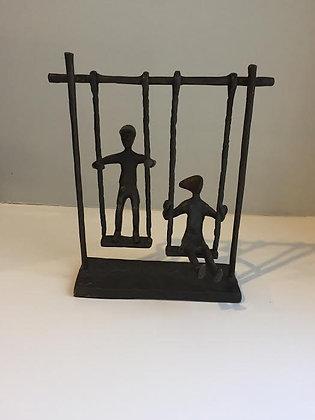 2 Kids on Swing  Bronze Sculpture
