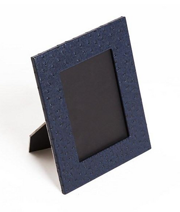 Navy Ostrich Style Leather 5 x 7 Frame